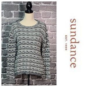 SUNDANCE Boucle Black Gray Sweater Wool Blend Sz S